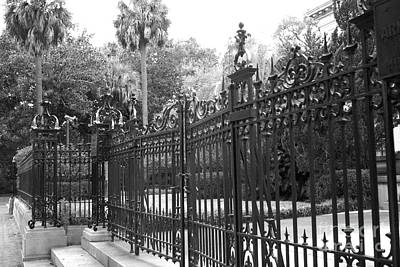 Savannah Fine Art . Savannah Old Trees Photograph - Savannah Mansions Black And White Rod Iron Gate - Savannah Black Gate Architecture by Kathy Fornal