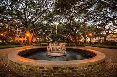 Photograph - Savannah Park Fountain At Sunrise by Anthony Doudt