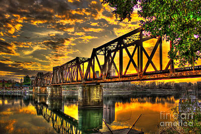 Photograph - Sunset At Augusta's 6th Street Trestle Bridge Over The Savannah River by Reid Callaway