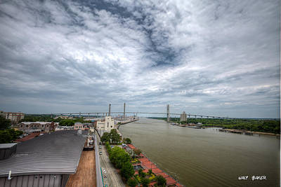 Photograph - Savannah Rooftop River View by Walt  Baker