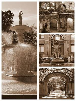 Photograph - Savannah Scenes Collage In Sepia by Carol Groenen