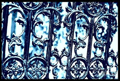 Fleur De Lis Photograph - Southern Scrollwork In Blue by Carol Groenen