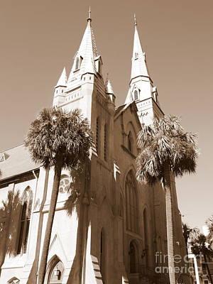 Photograph - Savannah Sepia - Methodist Church by Carol Groenen