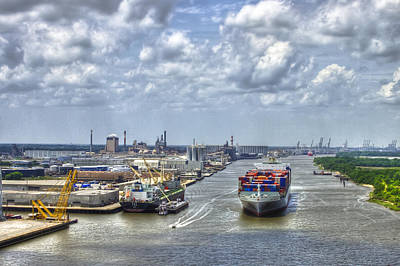 Port Of Savannah Shipping Headed Out Print by Reid Callaway