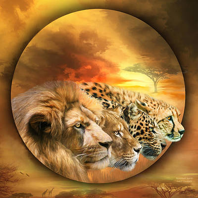 Cheetah Mixed Media - Savannah Spirits by Carol Cavalaris