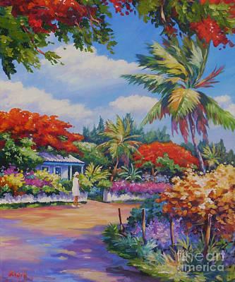 Flamboyant Tree Painting - Savannah Walk      20x24 by John Clark
