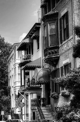 Savannah's Foley House Inn In Black And White Print by Greg and Chrystal Mimbs