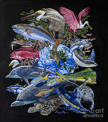 Spoonbill Wall Art - Painting - Save Our Seas In008 by Carey Chen