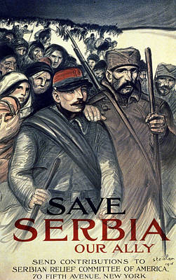 1910s Painting - Save Serbia Our Ally by Theophile Alexandre Steinlen