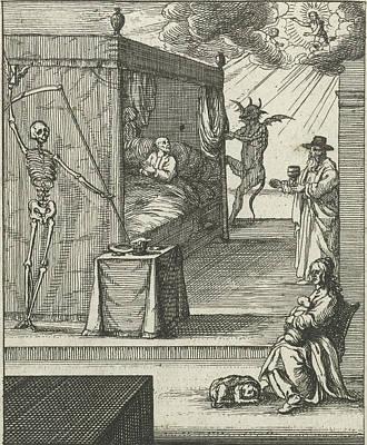 Prayer Drawing - Save Us From The Grip Of Evil, Albert Flamen by Albert Flamen