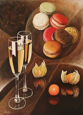 Champagne Painting - Saveur De Macarons by Frank Godille