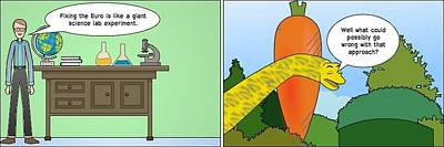 Editorial Cartoon Mixed Media - Saving Public Euro Cartoon by OptionsClick BlogArt