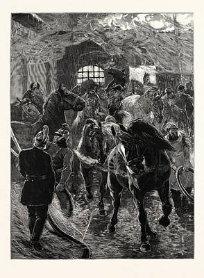 Saving The Horses A Scene At The Fire At Southwark London Uk Print by English School