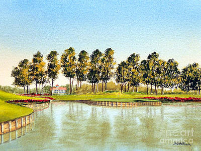 Sports Paintings - Sawgrass TPC Golf Course 17Th Hole by Bill Holkham