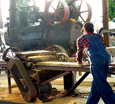 Sawmill Planer In Action Art Print by Pete Trenholm