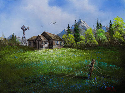 Bob Ross Painting - Sawtooth Mountain Homestead by C Steele