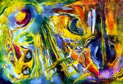 Saxophon Painting - Sax And Strings by Katona Peter