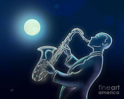 Sax-o-moon Art Print by Bedros Awak