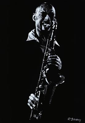 Musicians Drawings - Sax Player by Richard Young