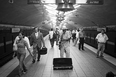 Photograph - Sax Player Subway by Dave Beckerman