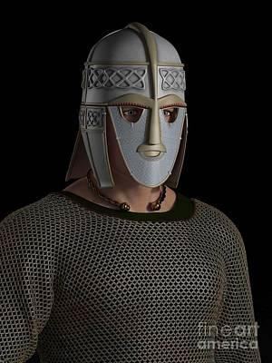 Sutton Digital Art - Saxon Warrior Chieftain Portrait by Fairy Fantasies