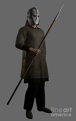 Sutton Digital Art - Saxon Warrior Chieftain With Spear by Fairy Fantasies