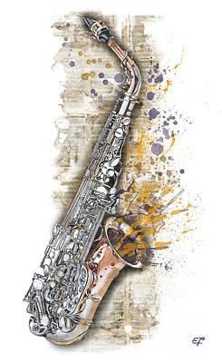 Saxophon Painting - Saxophone 02 - Elena Yakubovich by Elena Yakubovich
