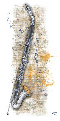 Saxophon Painting - Saxophone 03 - Elena Yakubovich by Elena Yakubovich