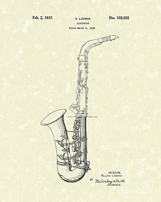 Saxophone Drawing - Saxophone 1937 Patent Art by Prior Art Design