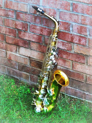 Musician Photograph - Saxophone Against Brick by Susan Savad