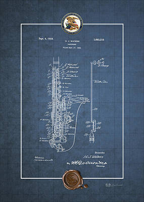 Digital Art - Saxophone By H.j. Waters Vintage Patent Blueprint by Serge Averbukh