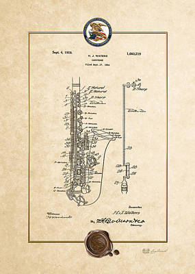 Digital Art - Saxophone By H.j. Waters Vintage Patent Document by Serge Averbukh