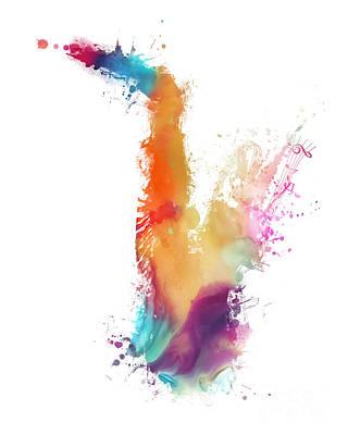 Music Digital Art - Saxophone Colored Musical Instrument by Justyna JBJart