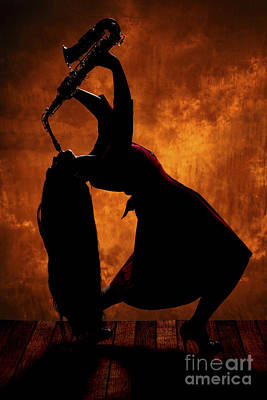 Photograph - Saxophone Girl In Silhouette In Color 3207.02 by M K Miller