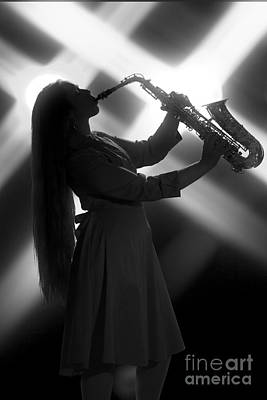 Photograph - Saxophone Girl On Stage In Silhouette In Sepia 3144.01 by M K Miller