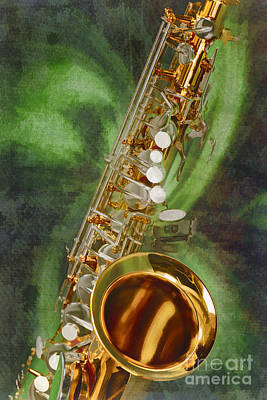 Musician Framed Painting - Saxophone Instrument Painting Music  In Color 3253.02 by M K  Miller