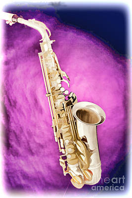 Saxophone Photograph - Saxophone Jazz Instrument Bell Painting In Color 3272.02 by M K  Miller