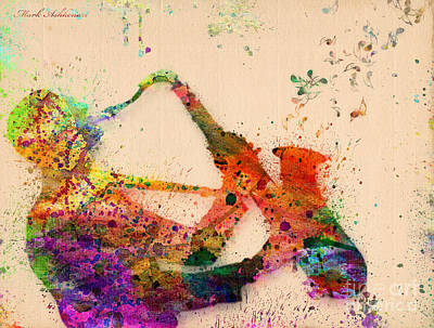 Cute Cartoon Painting - Saxophone  by Mark Ashkenazi