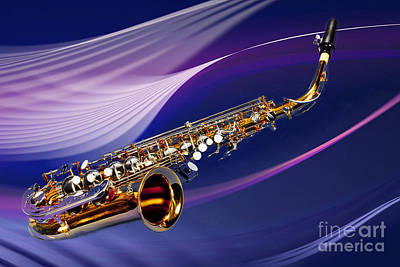 Photograph - Saxophone Music In Space In Color 3251.02 by M K Miller