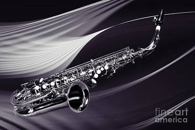 Saxophone Photograph - Saxophone Music In Space In Sepia 3251.01 by M K  Miller