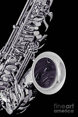Saxophone Photograph - Saxophone Music Instrument  In Sepia 3266.01 by M K  Miller