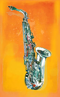 Abstract Pop Drawing - Saxophone - Music  Stylised Drawing Art Poster by Kim Wang