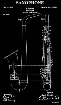 Sound Digital Art - Saxophone Patent Black And White by Dan Sproul