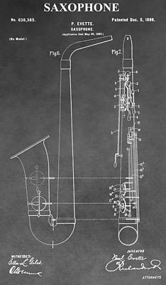Noise . Sounds Digital Art - Saxophone Patent by Dan Sproul