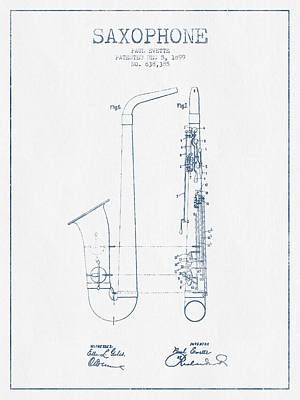 Saxophone Patent Drawing From 1899 - Blue Ink Art Print by Aged Pixel