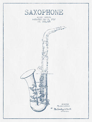 Musician Royalty-Free and Rights-Managed Images - Saxophone Patent Drawing From 1937 - Blue Ink by Aged Pixel