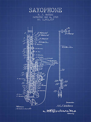 Saxes Digital Art - Saxophone Patent From 1928 - Blueprint by Aged Pixel