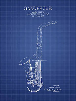 Saxophone Drawing - Saxophone Patent From 1937 - Blueprint by Aged Pixel