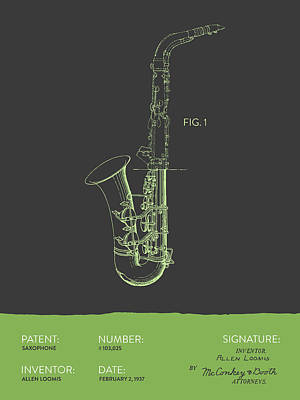 Saxes Digital Art - Saxophone Patent From 1937 - Gray Green by Aged Pixel