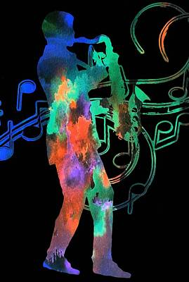 Saxophone Player Digital Art - Saxophone Player by Dan Sproul